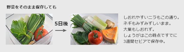 野菜をそのまま真空保存